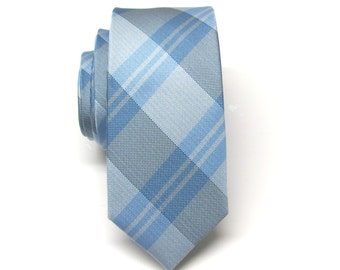 Skinny Tie. Mens Tie. Blue and Gray Plaid Skinny Tie With Matching Pocket Square Option