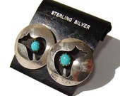 Navajo Bear Earrings Southwestern Indian Sterling Silver & Turquoise Shadow Box