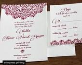 Malika Letterpress or Digital Wedding Invitations - Set of 100
