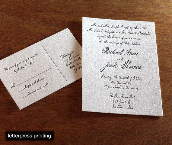 Rachel Letterpress or Digital Wedding Invitations - Set of 100