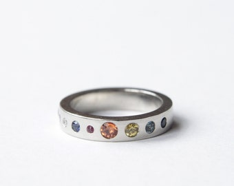Planet Ring, Precious Stones, Silver or Gold, Eternity Ring, Handmade in Brighton, England.