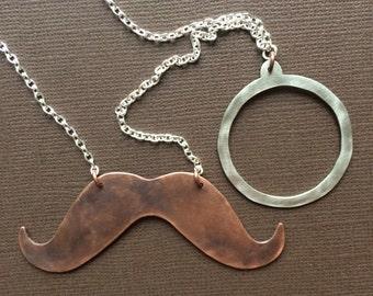 Mustache Necklace/ Mr. Moneybags/ Dark Version - MADE TO ORDER