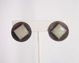 Polished Stone Sterling Silver Setay Earrings Vintage 80s Jewelry