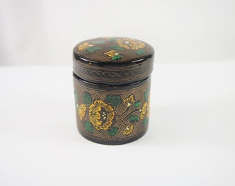 Vintage 80s Lacquered Wood Round Dresser Box Lidded Floral Design