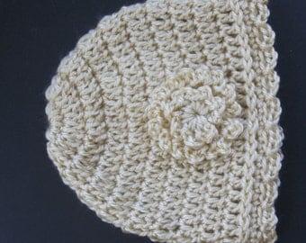 Newborn Baby Infant Girl Hat Cap Crochet Acrylic Baby Hat Warm Infant Hat Toddler Girl Hat with Flower Knit Reborn Doll Hat