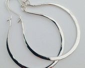 Artisan Handmade Large Hammered Sterling Silver Gabriela Hoops Earrings