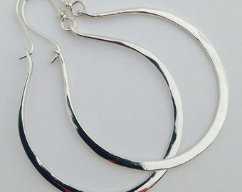 Artisan Handmade Large Hammered Sterling Gabriela Hoops Earrings Ready to Ship