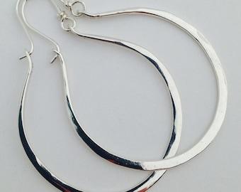 Artisan Handmade Large Hammered Sterling Silver Gabriela Hoops Earrings