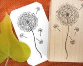 Dandelion Flower Rubber Stamp  - Handmade by Blossom Stamps