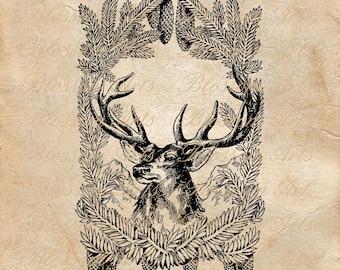CHRISTMAS BUCK Deer in Evergreen Frame Instant Digital Download Clip Art
