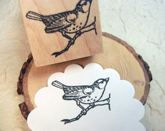 Perched Bird Rubber Stamp - Handmade rubber stamp by BlossomStamps