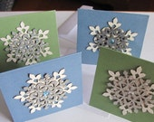 "Set of 4 Blank Snowflake Note Cards, 3"" x 3"""