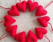 Red felt heart Valentine ornaments set of 10