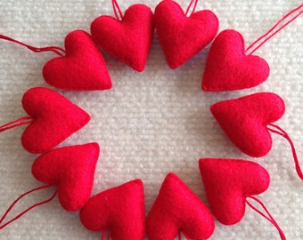 Red felt heart Valentine ornaments set of 10
