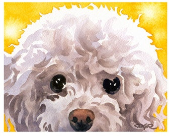 WHITE POODLE Art Print Signed by Watercolor Artist DJ Rogers