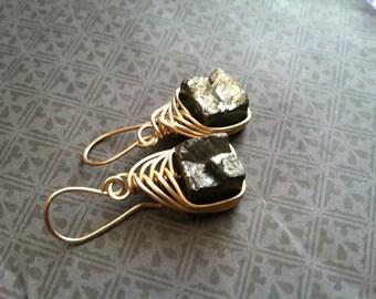 Pyrite Earrings Rustic Dangle Earrings Raw Gemstone Earrings Rustic Jewelry DanielleRoseBean Wire Wrap Earrings Raw Gemstone Dangle Earrings