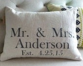 Reserved Listing for Madalyn- Wedding Gift Pillow Personalized - Anniversary Gift - Your Choice of Text Color & Pillow Size