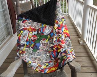 Extra Large Marvel Retro Comic and Black Minky Dot Blanket CHOICE OF MINKY