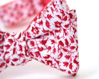 scarlet floral freestyle bow tie for the little guy