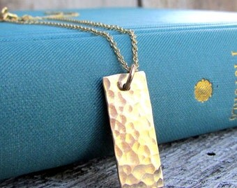 Gold Bar Necklace, Dainty Hammered Gold Filled (14K GF) Vertical Pendant, MATILDA by E. Ria Designs