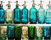Buenos Aires Blues - Photographic Fine art Print. Vintage Seltzer/soda bottles in shades of green and blue. Buenos Aires-Travel Photography