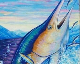 MARLIN-  Original Acrylic Painting Sealife Game Fish Marine -Ready To Hang