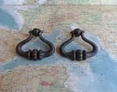 SALE! 2 vintage curvy open brass metal pull handles