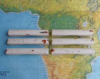 SALE! 6 vintage chipped painted white wood handles
