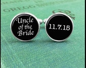 Wedding Cufflinks -Uncle Of The Bride- Wedding Date- Silver or Brass- Wearable Art- Handmade by Lisa Owens