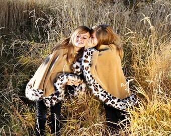Poncho or Cape in Tan Fleece with Lynx Faux Fur Trim