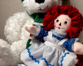 "10"" Raggedy Ann Doll with Free Holiday Bear - Ready to Ship"