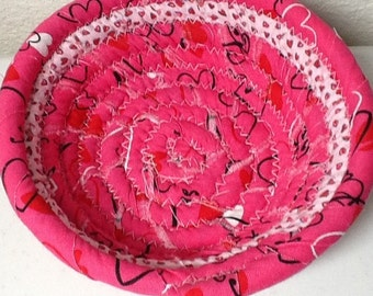 Coiled Fabric Cotton Basket or Bowl - Pink - Easter Basket - Rope Basket