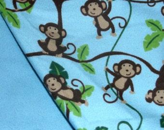 Flannel Blue Monkey Print Baby Blanket