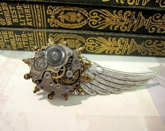 Wing Tie Clip, Steampunk Tie Bar, Clockworks Tie Clip, Clockworks Tie Bar, Men's Tie Bars, Wing Tie Bar, ORIGINAL DESIGNER  Days Long Gone