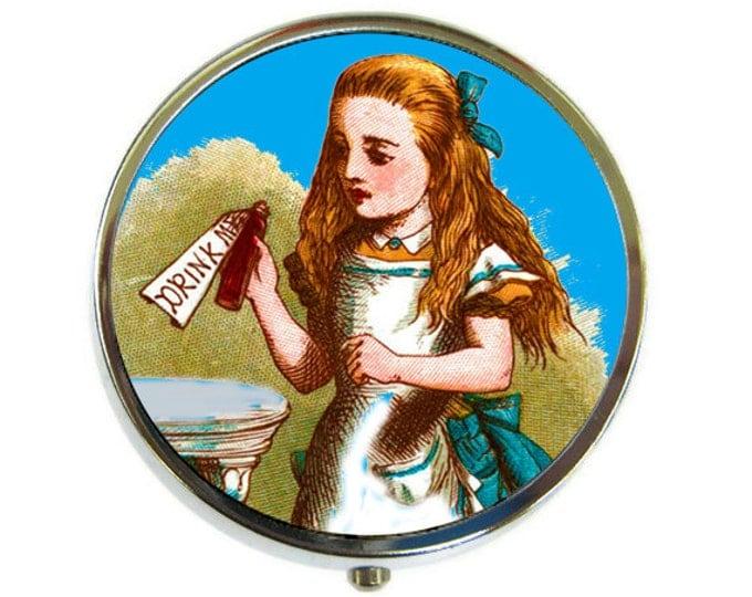 Pill Box Case Alice in Wonderland Drink Me Silver Stash