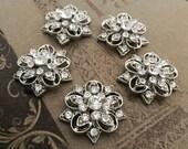 5 Rhinestone buttons, rhinestone button, crystal button, wedding buttons, bridal buttons, wedding embellishments