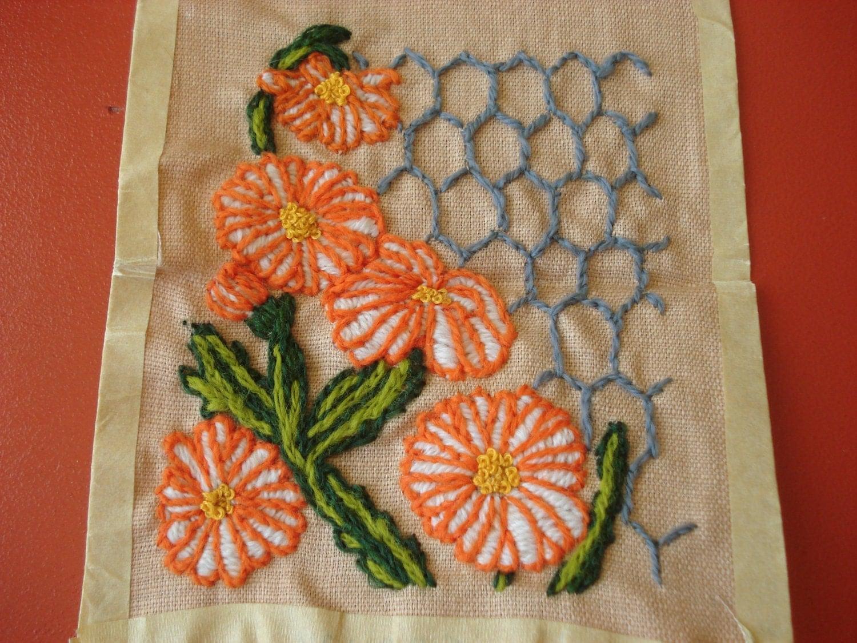 Vintage crewel embroidery kit garden gate by backgatecottage
