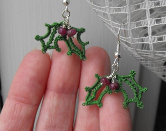 Holiday Holly and Berries / Needle Tatted Earrings with Rubies