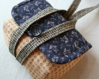 Small Camera Bag Wristlet Purse in Homepun Style Vintage Lace and Button Dark Blue Beige Floral