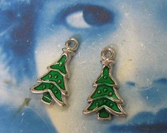Cast Enamel Christmas Tree Charms 761 x2