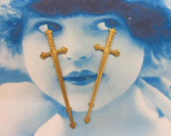 Raw Brass Gothic Medieval Sword Charms with hole 566RAW x2