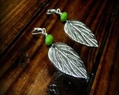 Douglas Fir Earrings, Western Cowgirl Southwestern Boho Crystal Leaf Dangle Earrings