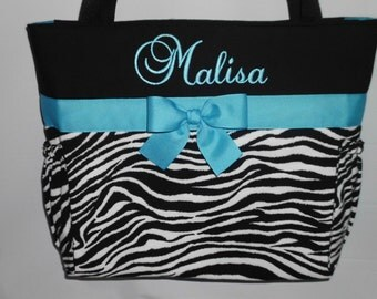 Turquoise  Accents .. ZEBRA  Print ... Tote .... Diaper  Bag ...Bottle Pockets ...  Personalized FREE