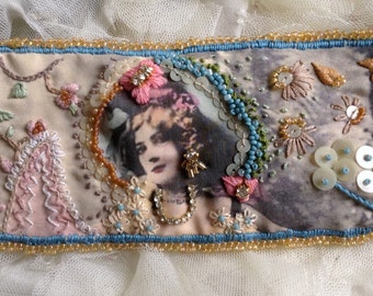 Lilygrace Show Girl Silk Art Cuff Hand Embroidered with Vintage Rhinestones and Beads
