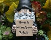 Biker Gnome Statue - Custom Motorcycle Gnome - Concrete Garden Art