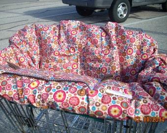 Shopping Cart cover  for boy or girl....Aurelia Circles Metallic Red