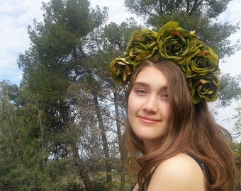Flower crown, Green, Green rose, rose crown, Green crown, floral crown, Burning Man, Wedding crown, Festival