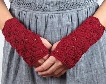 Gloves Fingerless Ruby Red Silk Merino Hand Knit