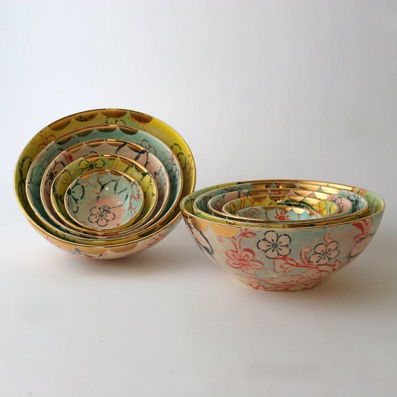 Handmade Ceramic Nesting Bowl set of 5 in Lotus Garden Design Available in 14 days