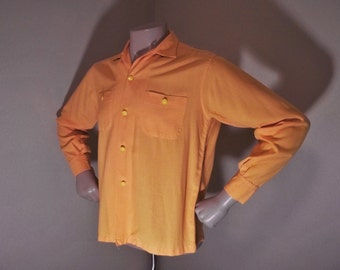Vintage 50s PILGRIM Rayon Rockabilly Loop Collar Shirt M 42